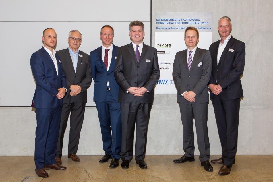 Die Referenten von links nach rechts: Olivier Kipfer, Cyril Meier, Dr. Simon Hefti, Rainer Pollmann, Prof. Dr. Sven Reinecke, Jens Windel